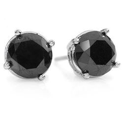 3.0 CTW VS Certified Black Diamond Solitaire Stud Earrings 14K White Gold - REF-75Y6K - 14153
