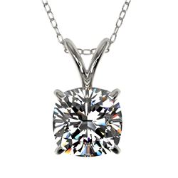 1 CTW Certified VS/SI Quality Cushion Cut Diamond Necklace 10K White Gold - REF-267W8F - 33198