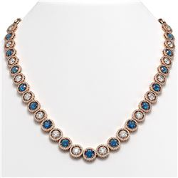 35.60 CTW Blue & White Diamond Designer Necklace 18K Rose Gold - REF-4403H6A - 42678