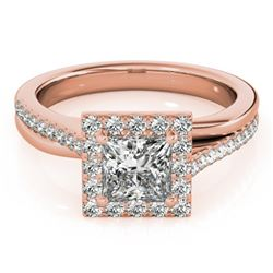 1.25 CTW Certified VS/SI Princess Diamond Solitaire Halo Ring 18K Rose Gold - REF-245T5M - 27199