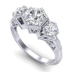 1.66 CTW VS/SI Diamond Solitaire Art Deco 3 Stone Ring 18K White Gold - REF-445M5H - 37223