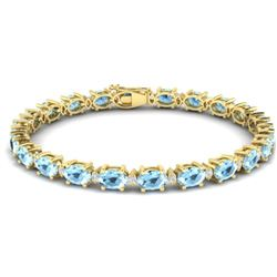 15.9 CTW Aquamarine & VS/SI Certified Diamond Eternity Bracelet 10K Yellow Gold - REF-165W3F - 29362