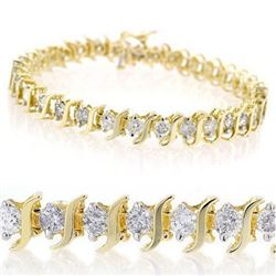 4.0 CTW Certified VS/SI Diamond Bracelet 10K Yellow Gold - REF-268Y2K - 13014