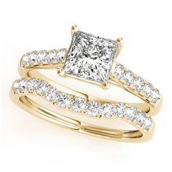 1.8 CTW Certified VS/SI Princess Diamond 2Pc Wedding Set 14K Yellow Gold - REF-395M3H - 32077