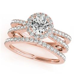 1.63 CTW Certified VS/SI Diamond 2Pc Wedding Set Solitaire Halo 14K Rose Gold - REF-234A5X - 31018