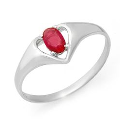 0.25 CTW Ruby Ring 10K White Gold - REF-9F3N - 12419