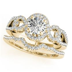 1.55 CTW Certified VS/SI Diamond 2Pc Wedding Set Solitaire Halo 14K Yellow Gold - REF-389X3T - 31084