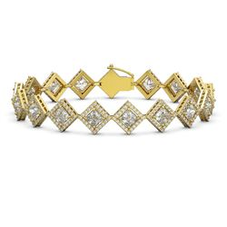 13.5 CTW Princess Cut Diamond Designer Bracelet 18K Yellow Gold - REF-2508N4Y - 42853