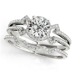 1.01 CTW Certified VS/SI Diamond Solitaire 2Pc Wedding Set 14K White Gold - REF-140N2Y - 31997