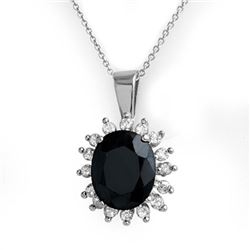 5.20 CTW Blue Sapphire & Diamond Pendant 14K White Gold - REF-87M3H - 12764