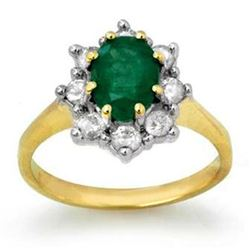 1.80 CTW Emerald & Diamond Ring 10K Yellow Gold - REF-76F4N - 13094