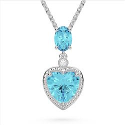 4 CTW Sky Blue Topaz & VS/SI Diamond Heart Necklace 10K White Gold - REF-26X2T - 22526