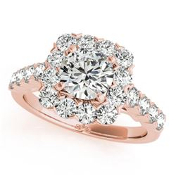 2.5 CTW Certified VS/SI Diamond Solitaire Halo Ring 18K Rose Gold - REF-433W5F - 26213