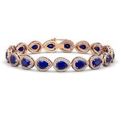 21.69 CTW Sapphire & Diamond Halo Bracelet 10K Rose Gold - REF-315Y5K - 41097