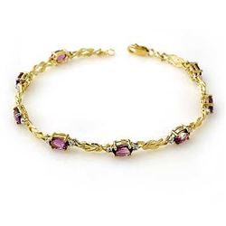 3.73 CTW Amethyst & Diamond Bracelet 10K Yellow Gold - REF-32X2T - 13588
