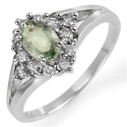 0.95 CTW Green Sapphire & Diamond Ring 10K White Gold - REF-32T2M - 10378