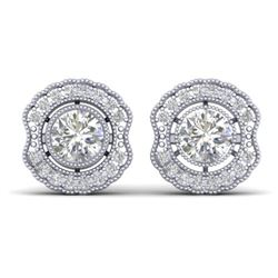 1.5 CTW Certified VS/SI Diamond Art Deco Stud Earrings 14K White Gold - REF-196M2H - 30540