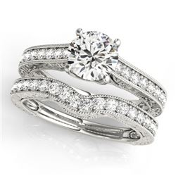 1.67 CTW Certified VS/SI Diamond Solitaire 2Pc Wedding Set 14K White Gold - REF-388K2W - 31670