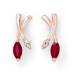 0.75 CTW Ruby & Diamond Earrings 10K Rose Gold - REF-15M8H - 13179