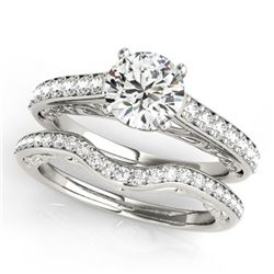 1.36 CTW Certified VS/SI Diamond Solitaire 2Pc Wedding Set 14K White Gold - REF-214F9N - 31757