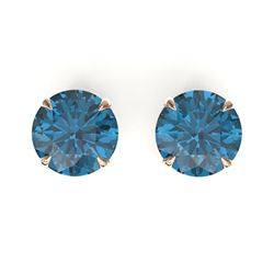 4 CTW London Blue Topaz Designer Solitaire Stud Earrings 14K Rose Gold - REF-23K8W - 21828