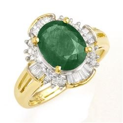3.08 CTW Emerald & Diamond Ring 14K Yellow Gold - REF-78M9H - 13254