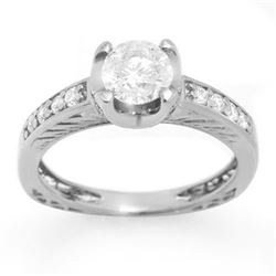 1.10 CTW Certified VS/SI Diamond Ring 14K White Gold - REF-172T2M - 11658