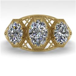 2 CTW Past Present Future VS/SI Oval Cut Diamond Ring 18K Yellow Gold - REF-421K6W - 36067
