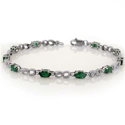 3.01 CTW Emerald & Diamond Bracelet 18K White Gold - REF-56Y5K - 11323