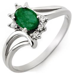 0.50 CTW Emerald & Diamond Ring 14K White Gold - REF-23W8F - 10526