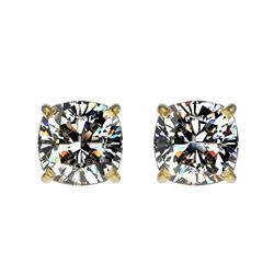 1 CTW Certified VS/SI Quality Cushion Cut Diamond Stud Earrings 10K Yellow Gold - REF-147H2A - 33068