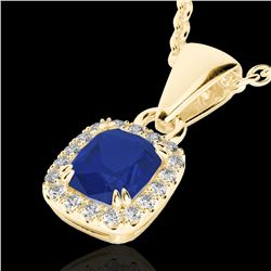1.25 CTW Sapphire & VS/SI Diamond Halo Necklace Micro Pave 10K Yellow Gold - REF-29M6H - 22891