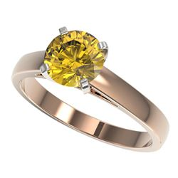 1.50 CTW Certified Intense Yellow SI Diamond Solitaire Ring 10K Rose Gold - REF-216H3A - 33028