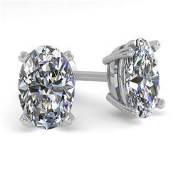 1.0 CTW Oval Cut VS/SI Diamond Stud Designer Earrings 14K White Gold - REF-148F5N - 38359