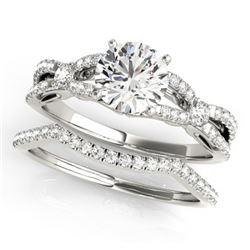 1.5 CTW Certified VS/SI Diamond Solitaire 2Pc Wedding Set 14K White Gold - REF-378X2T - 31889