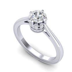 0.81 CTW VS/SI Diamond Art Deco Ring 18K White Gold - REF-135F8N - 36824