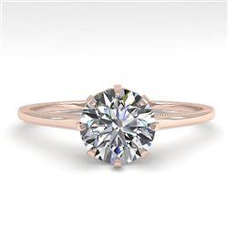 1.0 CTW Certified VS/SI Diamond Engagement Ring 18K Rose Gold - REF-283Y4K - 35738