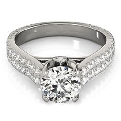 2.11 CTW Certified VS/SI Diamond Pave Ring 18K White Gold - REF-606H5A - 28102