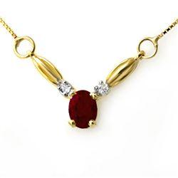 1.30 CTW Ruby & Diamond Necklace 10K Yellow Gold - REF-19W8F - 12637