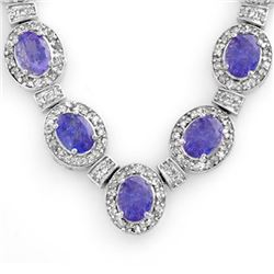 38.70 CTW Tanzanite & Diamond Necklace 14K White Gold - REF-963K6W - 14191