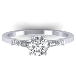 1.04 CTW Certified VS/SI Diamond Solitaire Ring 14K White Gold - REF-179Y6K - 30390