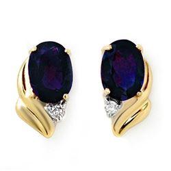 1.20 CTW Blue Sapphire & Diamond Earrings 10K Yellow Gold - REF-12T5M - 12829