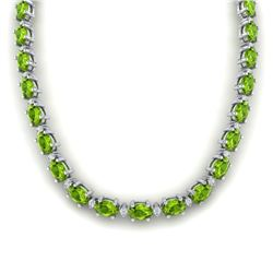 46.5 CTW Peridot & VS/SI Certified Diamond Eternity Necklace 10K White Gold - REF-275M3H - 29429