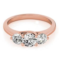 1 CTW Certified VS/SI Diamond 3 Stone Solitaire Ring 18K Rose Gold - REF-158W4F - 28012