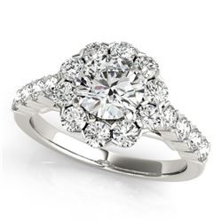 2.1 CTW Certified VS/SI Diamond Solitaire Halo Ring 18K White Gold - REF-262Y9K - 26371