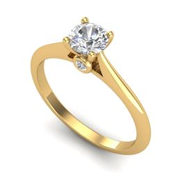 0.56 CTW VS/SI Diamond Solitaire Art Deco Ring 18K Yellow Gold - REF-106N8Y - 37282