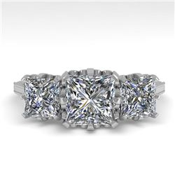 2 CTW Past Present Future Certified VS/SI Princess Diamond Ring 18K White Gold - REF-414X2T - 35784