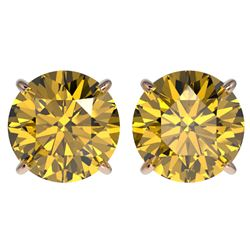 4 CTW Certified Intense Yellow SI Diamond Solitaire Stud Earrings 10K Rose Gold - REF-930X2T - 33140