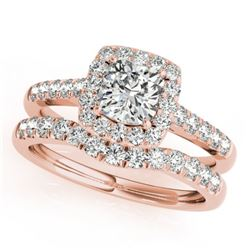 1.74 CTW Certified VS/SI Cushion Diamond 2Pc Set Solitaire Halo 14K Rose Gold - REF-464W4F - 31338