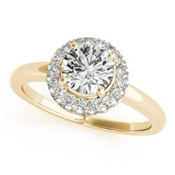 0.75 CTW Certified VS/SI Diamond Solitaire Halo Ring 18K Yellow Gold - REF-143W6F - 26475